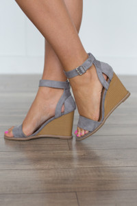Ankle Strap Suede Wedge - Grey