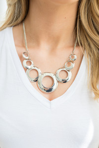 Circle Cutout Necklace - Silver