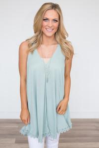 Lace Trim Racerback Tunic Dress - Mint
