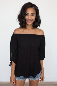 Off The Shoulder Tie Sleeve Blouse - Black