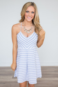 Striped Fit & Flare Dress - Blue/White
