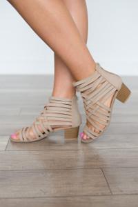 Lattice Strap Sandals - Taupe