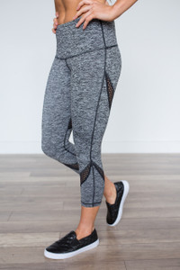 Mesh Panel Work Out Leggings - Heather Black