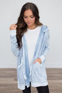 Hooded Vintage Wash Sweatshirt - Blue