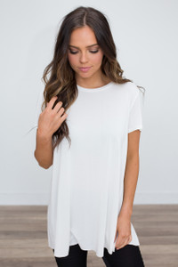 Short Sleeve Split Back Tunic - Off White