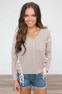 Lace Up Detail Crochet Sweater - Taupe
