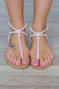 Braided Strap Sandals - Pink
