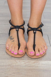 Braided Strap Sandals - Black - FINAL SALE