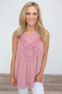 Sleeveless Crochet Lace Blouse - Rose