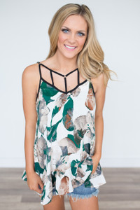 Cage Front Floral Cami - Green/White - FINAL SALE