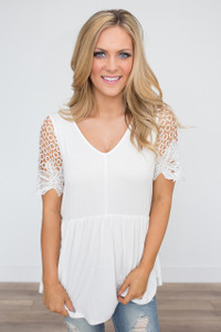 Lace Sleeve Babydoll Tunic - Off White