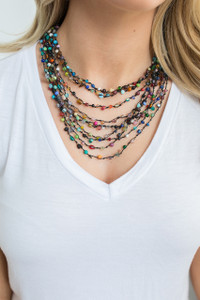 Celebration Beaded Necklace - Black Multi