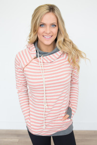 Ampersand Avenue Striped DoubleHood Sweatshirt - Pink