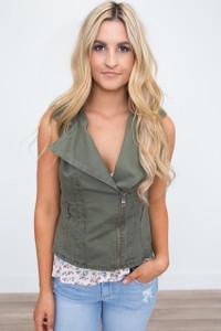 Belted Cargo Vest - Olive