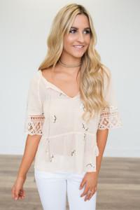 BB Dakota: Alecia Embroidered Blouse - Peach Blossom