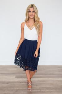 Crochet Lace Hem Midi Skirt - Navy