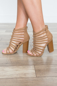 Zip Back Caged Heels - Camel - FINAL SALE