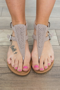 Woven Front Sandals - Taupe