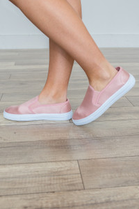 Satin Slip On Sneaker - Mauve - FINAL SALE
