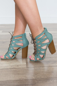 Lace Up Zip Back Heels - Mint Green
