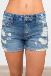 Rolled Hem Destroyed Denim Shorts - Medium Wash