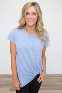 Basic Knot Front T-Shirt - Light Heather Blue