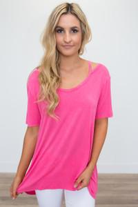 Cold Shoulder Short Sleeve Tunic - Hot Pink