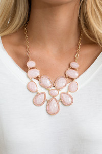 Shimmering Bib Necklace - Blush