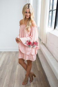 Romantic Rose Embroidered Dress - Rose