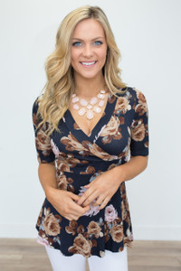 Floral Print V-Neck Top - Navy