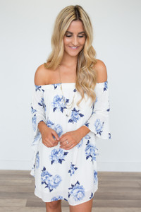 Off The Shoulder Floral Dress - Ivory/Blue