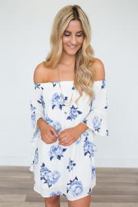 Off The Shoulder Floral Dress - Ivory/Blue