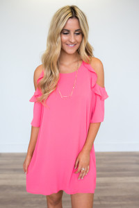Ruffle Drop Shoulder Dress - Coral