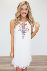 Floral Embroidered Trim Dress - Off White - FINAL SALE