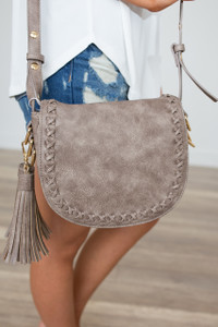 Penny Braided Stitch Saddle Bag - Taupe