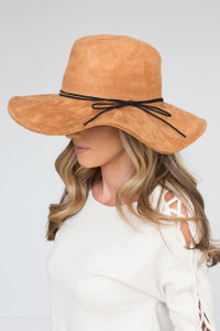 Suede Floppy Hat - Camel