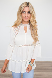 Lace Detail Tiered Blouse - Cream - FINAL SALE