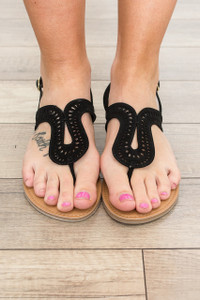 Poolside Die Cut Sandals - Black