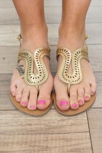 Poolside Die Cut Sandals - Gold - FINAL SALE