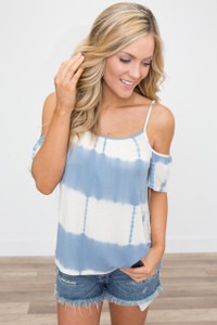 Tie Dye Drop Shoulder Top - Blue