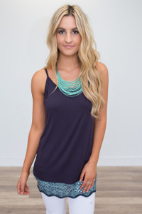 Sleeveless Crochet Trim Tunic - Navy