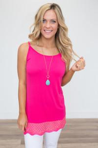 Sleeveless Crochet Trim Tunic - Hot Pink