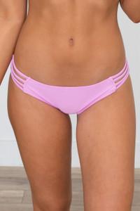 Solid Strappy Bikini Bottoms - Lilac
