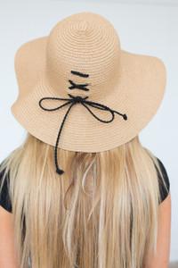 Lace Up Floppy Straw Hat - Tan/Black
