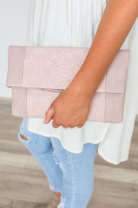 Serenity Snakeskin Clutch - Blush - FINAL SALE