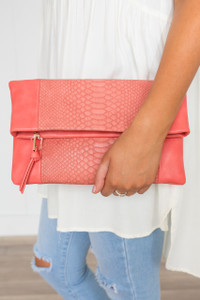Serenity Snakeskin Clutch - Coral - FINAL SALE