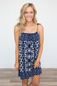 BB Dakota: Lyndon Printed Dress - Navy - FINAL SALE