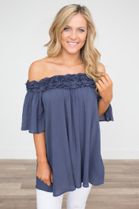 Off the Shoulder Ruffled Tunic - Navy