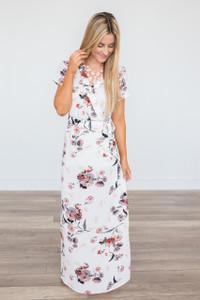 Floral Faux Wrap Maxi Dress - Ivory