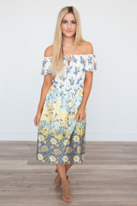 Everly Floral Print Midi Dress - Yellow - FINAL SALE